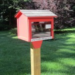 Our red Little Free Library sits at the first parking space of our parking lot.