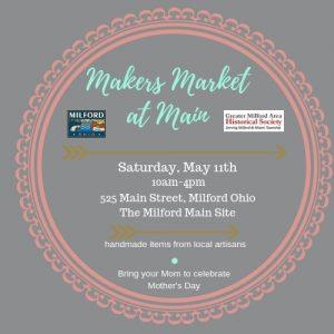 Maker's Market on May 11th, 2019 at Milford Main 525 Main St., Milford